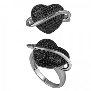 Heart Shape Black Spinel Ring