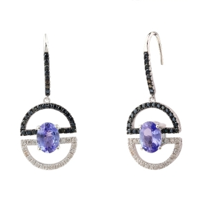 Two-tone Plated Tanzanite Earrings