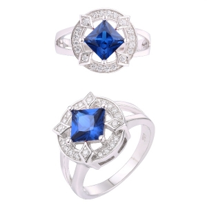 Square Blue Spinel Ring